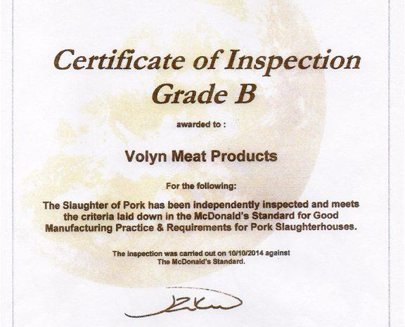 Нововолынский мясокомбинат прошел проверку и получил сертификат качества SAI Global